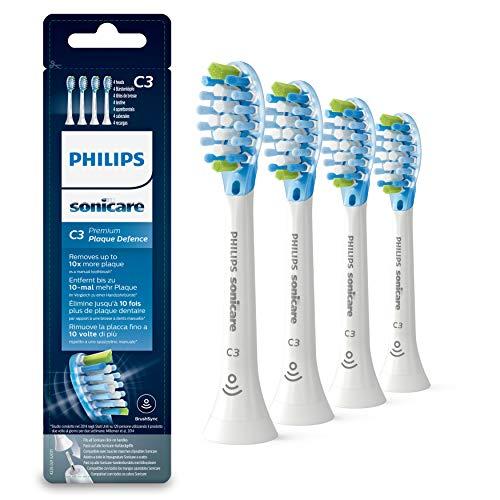 Philips Sonicare Original Aufsteckbürste Premium Plaque Defence HX9044/17, 10x mehr Plaqueentfernung, RFID-Chip, 4er Pack, Standard, Weiß