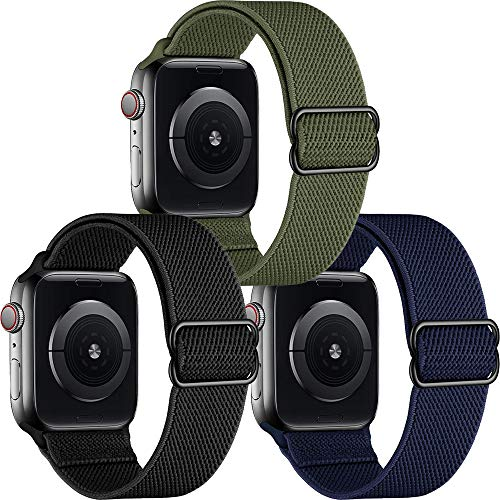 Younsea 3 Pack Correas Compatible con Apple Watch 44mm 42mm 38mm 40mm, Pulseras de Repuesto de Nylon Correa para iWatch Series 6 5 4 3 2 1 / Apple Watch SE, Mujer y Hombre