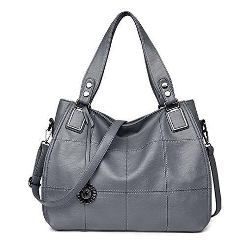 Plaid Handtaschen Frauen Taschen Designer PU Leder Weibliche Messenger Bags Vintage Große Einkaufstasche Große Kapazität Grau W36xD14xH31cm