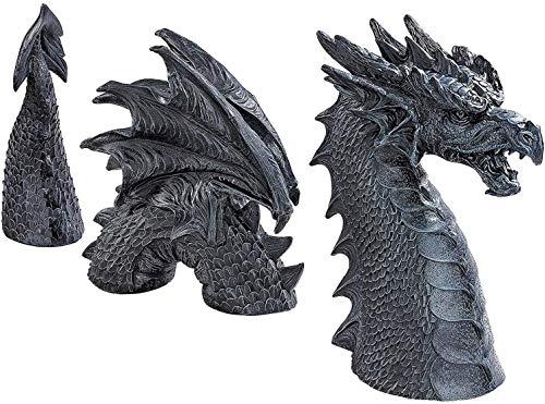 Estatuas de jardín de dragón,el dragón de Foso césped Estatua de jardín,Gran dragón gótico decoración de jardín Estatua de Resina para decoración al Aire Libre,estatuas de jardín de dragón (Negro)