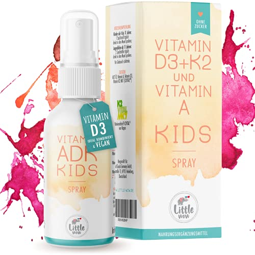 Little Wow® - Daily Vegan Vitamin D3 K2 + Vitamin A Spray für Kinder I Vitamine Kinder 180 Sprühstöße für bis zu 6 Monate I 500 IE Vitamin D3 & 11,25 µg Vitamin K2 pro Sprühstoß hergestellt in DE