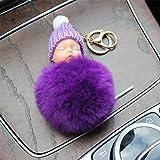 N/ A Mode Schlafpuppe Schlüsselbund Echt Rex Kaninchenhaar Auto SchlüsselringTasche Zubehör Wollhut Puppe Geschenk Schmuck