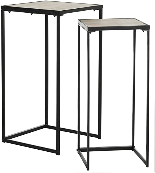 Safavieh FOX4268A Home Collection Callia Retro Mid Century Light Oak And Black Wood Stacking End Table