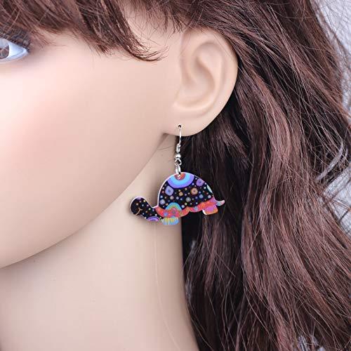 EHXWL 1 par de Tortugas Lindas Preciosas Pendientes de Gota de impresión Diseño de acrílico Estilo de Primavera/Verano para niñas Mujer Joyería