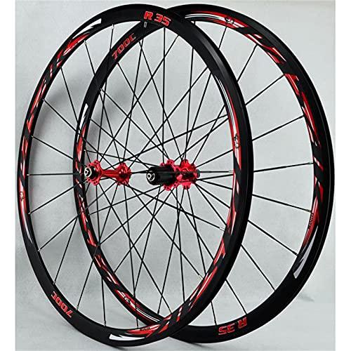 zyy Juego Ruedas Bicicleta 700c Carreras Bicicleta Carretera 30mm Llantas Aluminio Freno de Disco C/V- Freno Liberación Rápida 7 8 9 10 11 12 Velocidades (Color : Red)