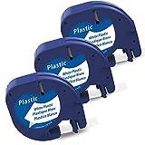 Markurlife kompatible Etikettenband als Ersatz für Dymo Etikettenband LetraTag Plastic White 12mm x 4m (Dymo LetraTag 91221/S0721660),schwarz auf weiß für Dymo LetraTag LT-100H LT-100T XR QX 50