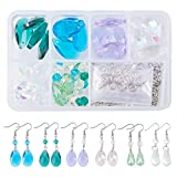 SUNNYCLUE 1 Box DIY 12 Pair Crystal Faceted Teardrop Dangle Hook Earring Making Starter Kit Jewelry Arts Craft Supllies for Beginners Adults
