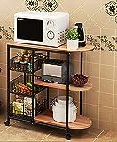 3-Tier Kitchen Baker's Rack Utility Microwave Oven Workstation Shelf Standing Spice Storage Cart (31.5''Wx33.3''H)