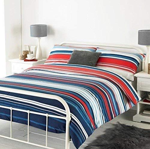 Horizontal Bewertet Gestreift Blau Gebürstete Baumwolle King Size ( Uni Marineblau Passendes Leintuch - 152 X 200cm + 25) 4 Teile Bettwäsche Set