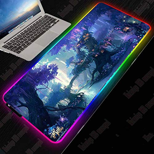 Mouse Pads Fantasy Tree Forest RGB Gaming Large Mouse Pad LED Light USB Wired Lighting Mouse Mat for Computer CSGO Dota 27.6x11.8 inches