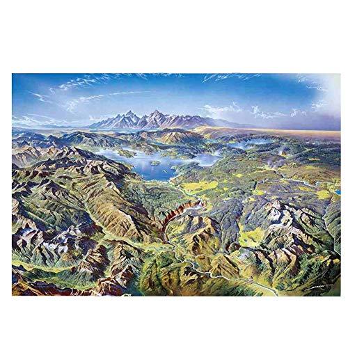 QIDI 1000 Piezas de Madera for Adultos Rompecabezas de Big Mountain y Big River Rompecabezas Juguetes educativos al óleo del Paisaje Pintura Decorativa Personalizada (Size : 1500 Pieces)