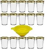 Viva Haushaltswaren - 15 x kleines Becherglas / Marmeladenglas 80 ml mit goldfarbenem Deckel,...