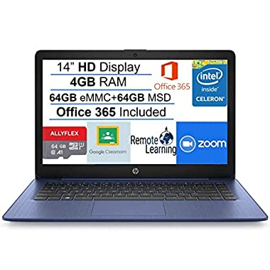 2021 Newest HP Stream 14″ HD SVA Laptop Computer, Intel Celeron N4000 Processor, 4GB RAM, 128GB Space(64GB eMMC+64GB MSD), Office 365, HDMI, Bluetooth, Windows 10, Blue, AllyFlex MP, Online Class