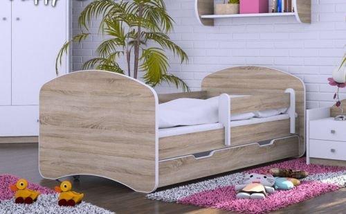 naka24 HB Kinderbett mit Matratze und Bettkasten - NEU Eiche Sonoma (160x80)