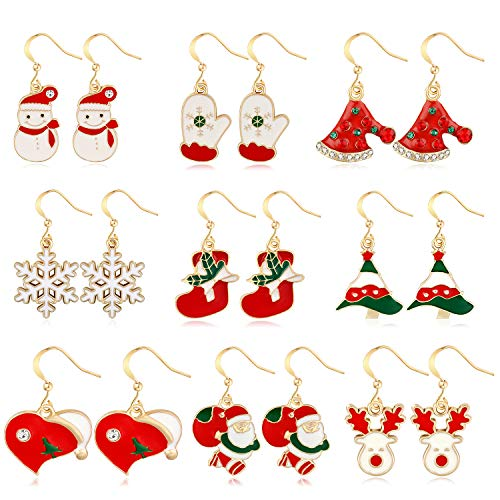 YSTIME 9 Pair Cute Christmas Theme Earrings Set for Kids Teens Girls, Xmas Jewelry Dangle Earrings Set, There Are Christmas Tree Earrings, snowflake Earrings, snowman Earrings, Santa earrings etc