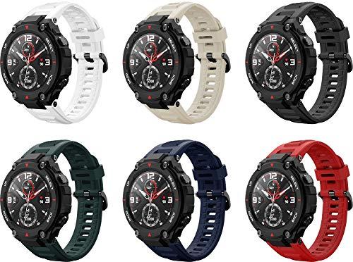 Abasic Correa de Reloj Recambios Correa Relojes Caucho Compatible con Amazfit T-Rex - Silicona Correa Reloj con Hebilla (6PCS D)