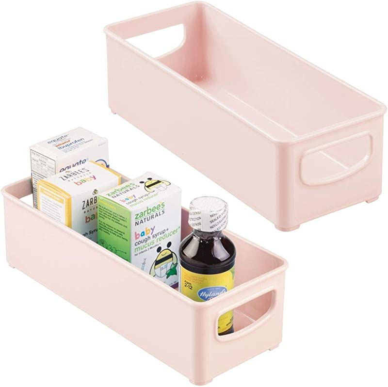 MDesign Baby Food Kitchen Refrigerator Cabinet Or Pantry Storage Organizer Bin Handles For Breast Milk Pouches Bottles Formula Juice Boxes BPA Free 10 X 4 X 3 2 Pack Light Pink Blush