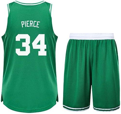 SUXT Maillot de Basket-Ball pour Hommes 0 34numéro, Maillot de Basket-Ball Boston Celtics L-XXXL, Jayson Tatum, Paul Pierce
