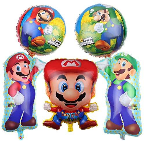 Bsstr Super Mario Bros Foil Balloon - Set of 5 Super Mario Brothers Foil Mylar Balloons Birthday Party Decoration