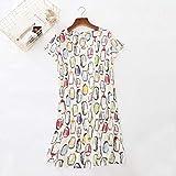 XFLOWR Sommer-Nachtwäsche, niedliches Cartoon-bedrucktes Kleid, bequemes Nachthemd, Rundhalsausschnitt, kurze Ärmel, Pinguin Weiß, m