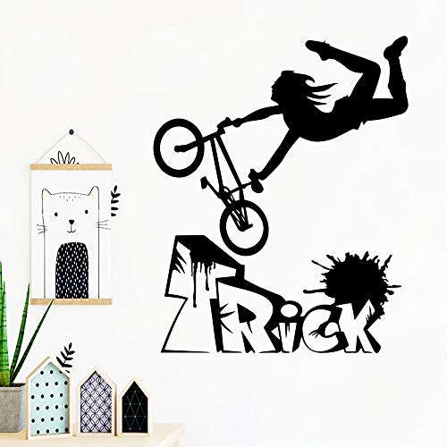 mlpnko Fahrrad Wandtattoo Dekoration Kinderzimmer Mode Aufkleber Wandbild Wohnzimmer Aufkleber 42X51cm