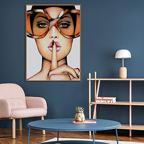 Mooi model met glazen schilderij op canvas kunst aan de muur abstracte picturale poster op woonkamer muur huisdecoratie-frameloze 60x80cm