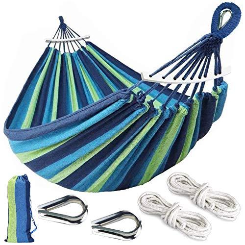 Aokbean Portable 2 Person Hammock Colorful Stripe Hammocks Swing with Spreader Bar Carry Bag for Patio Lawn Garden Camping,Beach,Backyard, Outdoor Indoor