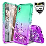 Donse for Samsung Galaxy A20/30 Case,Glitter Liquid Quicksand Floating Shiny Sparkle Flowing Bling Diamond Luxury Clear Cute Case for Girls Women (Mint/Purple)