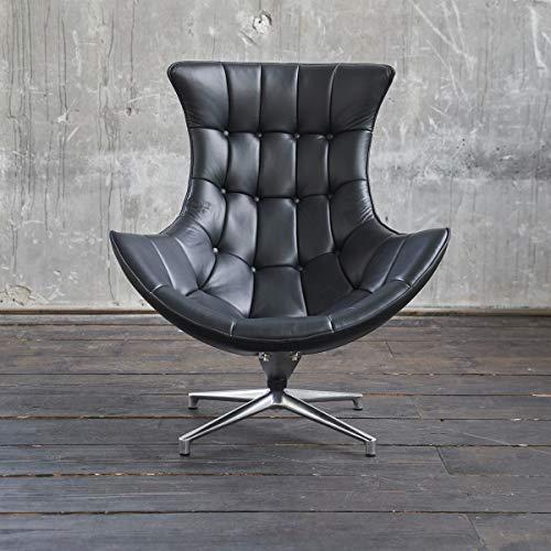 KAWOLA Drehsessel SKIO Sessel Leder matt schwarz