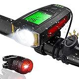 Luci Bicicletta LED, CrazyFire USB Ricaricabili Luce Bici con Contachilometri, Impermeabili Luce...