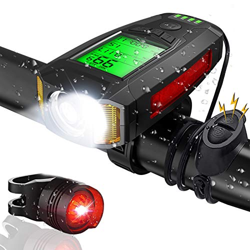 Luci Bicicletta LED, CrazyFire USB Ricaricabili Luce Bici con Contachilometri, Impermeabili Luce Bici Anteriore e Posteriore con Clacson e Luce di Emergenza, Luce Bici per Bici Strada e Montagna