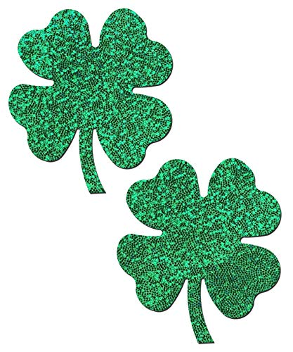 Pastease Nipple Pasties - Four Leaf Clover: Glittering Green Shamrocks Nipple Pasties - Festival Rave EDM Party Club DJ Techno Outfit Accessory