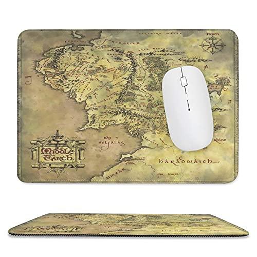 Tapis de souris classique avec bords cousus et base en caoutchouc antidérapant Motif carte du Seigneur des Anneaux 20 x 23 cm