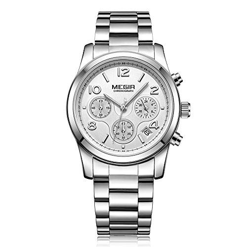 Andoer Moda luxo relógios femininos de aço inoxidável 3ATM resistente à água quartzo luminoso feminino relógio de pulso relogio feminino cronógrafo calendário