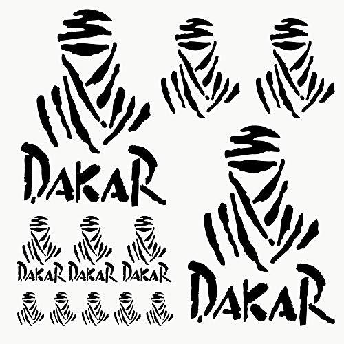 Autodomy Pegatinas Dakar Pack de 12 Unidades para Coche o Moto (Negro)