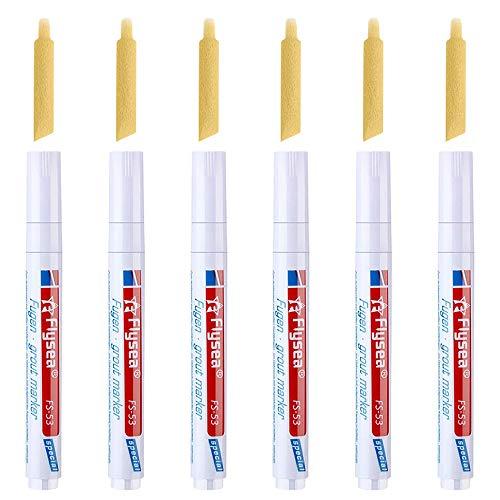 Gobesty Fugenstift, 6 Stück Fugenweiss Stift Wasserfest mit Ersatzspitze, Fugenmarker Fliesenstift für Fliesen Wand Flur (Weiß)