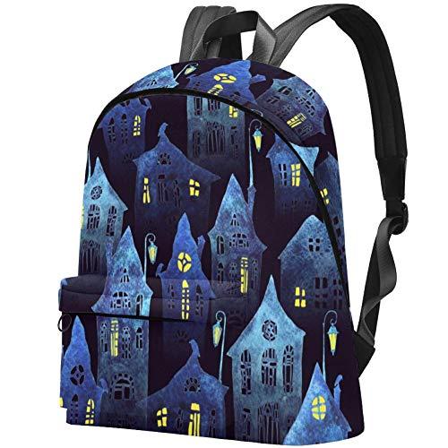 Krumme Häuser mit Fenstern und Laternen Bag Teens Student Bookbag Leichte Umhängetaschen Reiserucksack Tägliche Rucksäcke