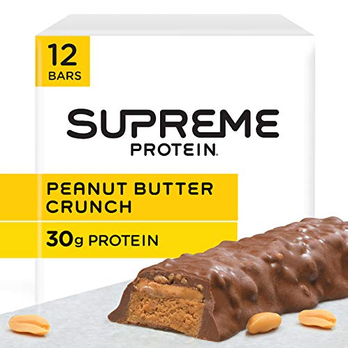 Supreme Protein 30g Protein Bar, Peanut Butter Crunch, 3 Ounce Bars, (12 Count)