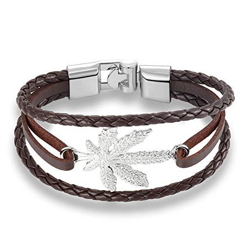 TGWCJDBB Gewebtes Armband,Silber Mode Maple Leaf Armband/Kette Aus Echtem Leder Schnalle Freundschaft Männer Frauen Armband Beste Wahl Für Strand Surfen