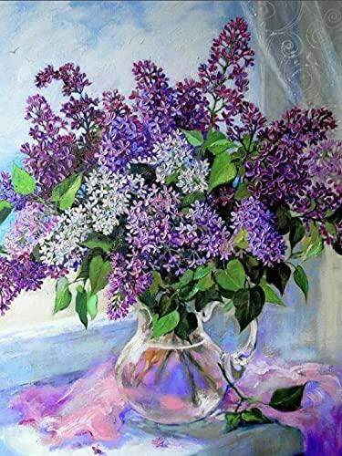 Jarrón redondo cuadrado lila punto de cruz bordado de diamantes flor costura regalo hecho a mano pintura de diamantes A11 40x50cm