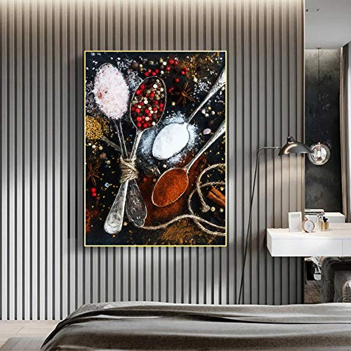 Spoon Spice Painting Mural Home Decoration Art Canvas Mural Art Kitchen Bathroom Living Room Bedroom Office Mural Gift