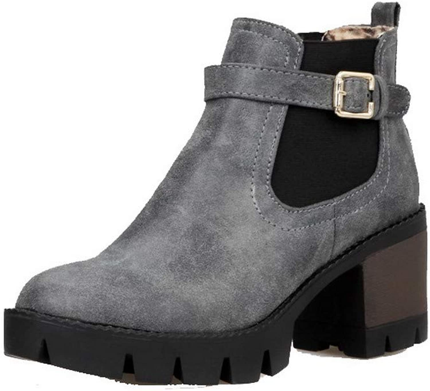 WeenFashion Women's Low-Top Pull-On Pu Kitten-Heels Closed-Toe Boots, AMGXX124951