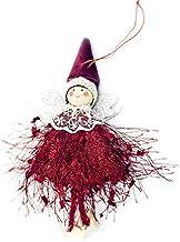 Urocza wełna anioł lalka wiszące wiszące wiszące ozdoby choinka wełna lalka wielokolorowa koronka szal i czapka (czerwona)