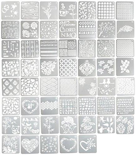 YNAK ステンシルシート 絵画 テンプレート 大容量 54枚 セット メッセージカード グリーティングカード ジ...