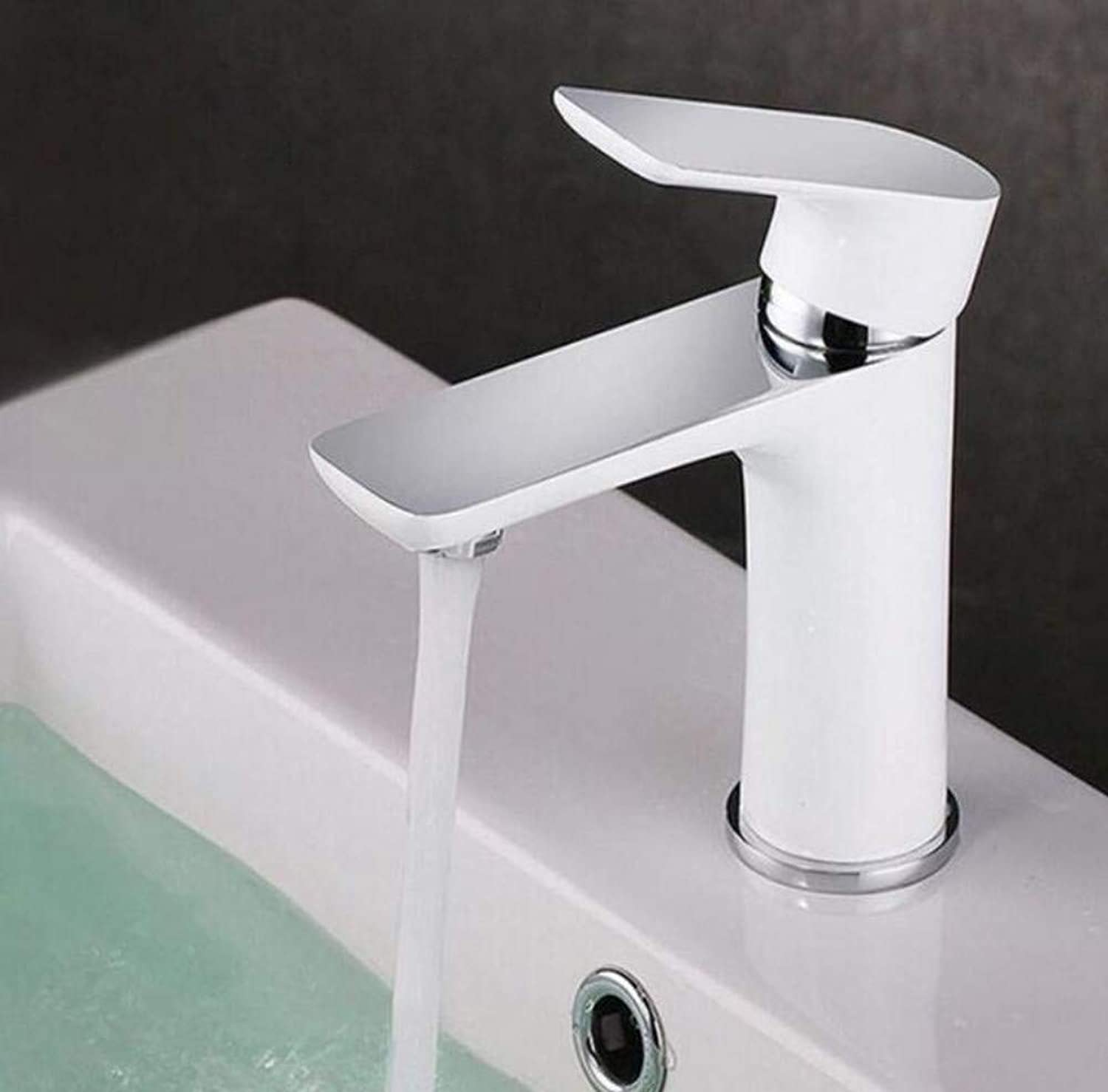 Brass Wall Faucet Chrome Brass Faucetfaucet Surface Chrome Plated & White Paint Basin Mixer Water Tap