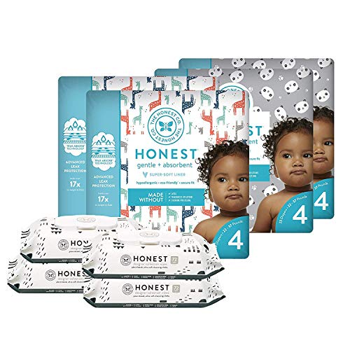 The Honest Company Super Duper Club Box with TrueAbsorb Baby Diapers & Honest Baby Wipes   Size 4   Eco-Friendly Diapers   Hypoallergenic Wipes   Stylish Prints