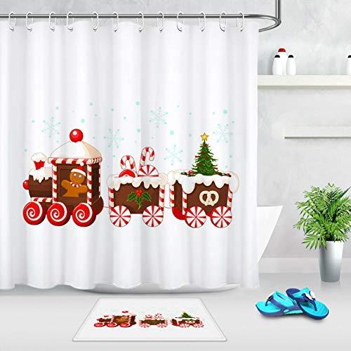 Kreative Weihnachtszug süße Süßigkeiten Duschvorhang Set Duschvorhang Badematte Set 12 Haken Duschvorhang wasserdicht Badzubehör