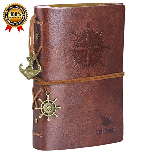 Leather Writing Journal Notebook, 7' Unlined Classic Vintage Nautical Spiral Bound Notebook Refillable Diary Sketchbook Gifts Travel Journals to Write in for Girls and Boys - Gift Boxed