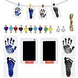 Jurxy - Juego de 16 piezas de huellas de mano para bebés, con tampón de color y pinzas de madera y cuerda para recién nacidos, color negro y azul