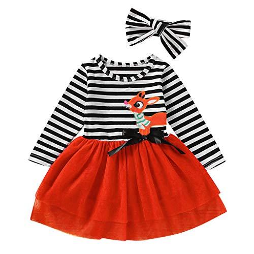 Mamum Toddler Baby Girls - Robe en Tulle à Rayures Et Cerfs De Noël Santa Dress Robe De Princesse Jupe Jarretelles